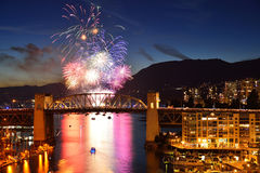 Fireworks display and Burrard Bridge Royalty Free Stock Image