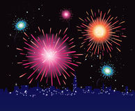 Fireworks display in the city. New Year in the city celebrated with fireworks. Vector illustration Stock Image