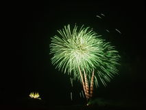 Fireworks. Display  Coconut treenDisplay of  and a sea of lanternsnGorgeous Royalty Free Stock Photos