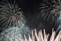 Fireworks display. Colorful fireworks agaisnt black sky Stock Photography