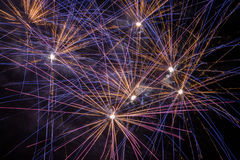 Fireworks. Display with colourful light rays during a fiesta in Mallorca Stock Images