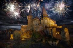 Fireworks at the Corvin Castle in Hunedoara. Fireworks display at Corvin`s Hunyadi Castle, historic monument and major tourist attraction in Hunedoara, Romania Royalty Free Stock Photos