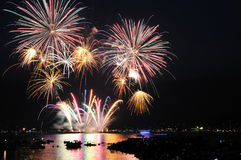 Fireworks display at English Bay Royalty Free Stock Photo
