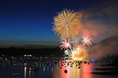 Fireworks display at English Bay Royalty Free Stock Image