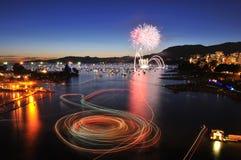 Fireworks display at English Bay Royalty Free Stock Image
