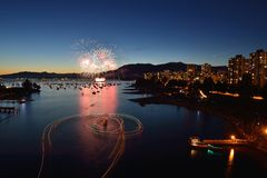 Fireworks display at English Bay Royalty Free Stock Photo
