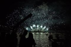 Fireworks. Display in English Bay in Vancouver, BC, Canada Royalty Free Stock Photography