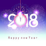 Fireworks display for happy new year 2018 above the city with clock Royalty Free Stock Photos