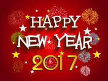 Fireworks display Happy new year 2017 with clock Royalty Free Stock Images
