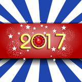 Fireworks display for happy new year 2017  with clock Royalty Free Stock Image