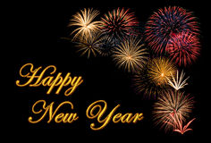 Fireworks display for a Happy New Year. Festive fireworks display for a Happy New Year wishes royalty free stock images