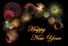 Fireworks display for a Happy New Year. Festive fireworks display for a Happy New Year wishes royalty free stock image