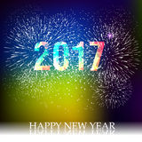 Fireworks display for happy new year 2017 Royalty Free Stock Images