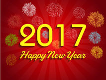 Fireworks display for happy new year 2017 Stock Photography