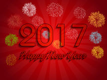 Fireworks display for happy new year 2017 Royalty Free Stock Photography