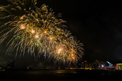 Fireworks display in Hong Kong royalty free stock image