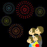 Fireworks display in Japan, Family in yukata, kimo. No for summer,  file Royalty Free Stock Photos