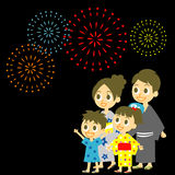 Fireworks display in Japan, Family in yukata, kimo Royalty Free Stock Photos