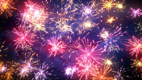 Fireworks display with lots of colorful bursts Stock Images