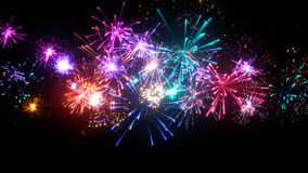 Fireworks display with lots of colorful bursts Royalty Free Stock Images