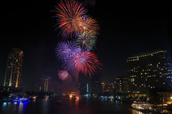 Fireworks display in Loy Krathong Festival. Stock Photography