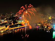 Fireworks display at Marina Bay during NDP 2012 Royalty Free Stock Photo