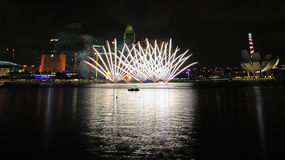 Fireworks display during National Day Parade 2011 Royalty Free Stock Images