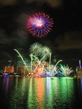 Fireworks display during National Day Parade 2011 Royalty Free Stock Photo