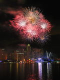Fireworks display during National Day Parade 2011 stock images