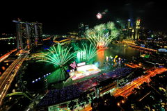 Fireworks display during National Day Parade 2011 Royalty Free Stock Photography