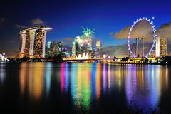 Fireworks display during National Day Parade Stock Photo