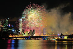 Fireworks display during National Day Parade Stock Images