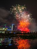 Fireworks display during National Day Parade (NDP) Preview 2014 on August 02, 2014 Stock Photo