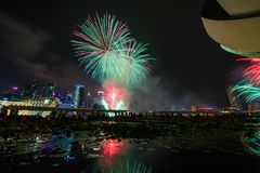 Fireworks display during National Day Parade (NDP) Preview 2014 Stock Image