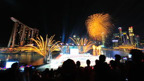 Fireworks display during National Day Parade (NDP) Rehearsal 2013 Royalty Free Stock Image