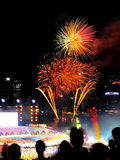 Fireworks display during National Day Parade (NDP) Rehearsal 2013 Royalty Free Stock Photos