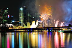 Fireworks display during National Day Parade (NDP) Rehearsal 2013 Royalty Free Stock Photography