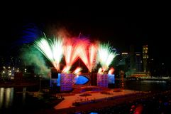 Fireworks display during NDP 2009 Stock Images