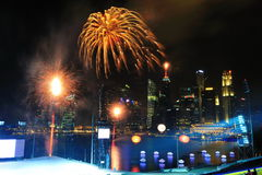 Fireworks display during NDP 2011 Stock Photo