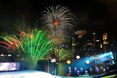 Fireworks display during NDP 2011 Stock Image