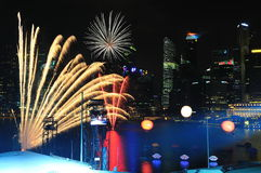 Fireworks display during NDP 2011 Royalty Free Stock Photography