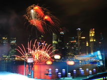 Fireworks display during NDP 2011 Stock Image