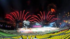 Fireworks display during NDP 2011 Royalty Free Stock Image