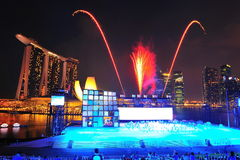 Fireworks display during NDP 2011 Royalty Free Stock Photo