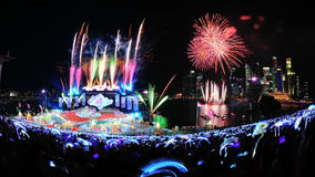 Fireworks display during NDP 2012 Stock Photography