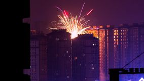 Fireworks Display Near High Rise Buildings during Nighttime Stock Photo