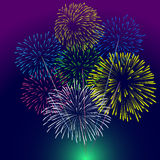 Fireworks Display for New year and all celebration  illustration Stock Images