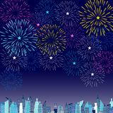 Fireworks Display for New year and all celebration  illustration Royalty Free Stock Images