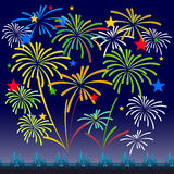 Fireworks Display for New year and all celebration  illustration Royalty Free Stock Image