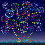 Fireworks Display for New year and all celebration vector illustration Royalty Free Stock Images